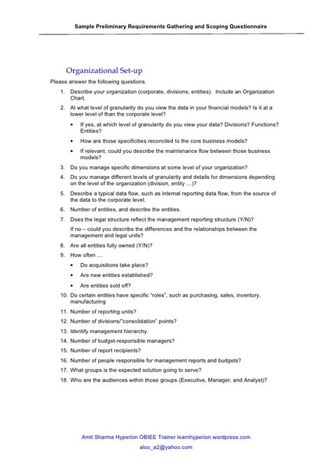 business requirements questionnaire template hyperion implementation questionaries
