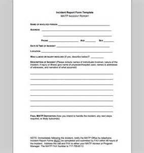 Sample Incident Report Template Report Template For Incident Example Of Incident Report