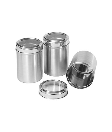 stainless kitchen canisters dynore stainless steel kitchen storage canisters dabba with see through lid set of 3 large