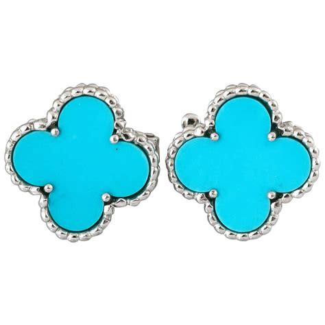 At Home Design Center Greenwich Ct pair of van cleef and arpels alhambra turquoise earrings