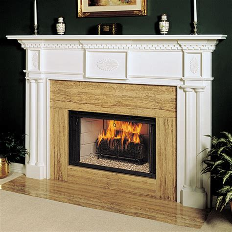 renaissance wood fireplace mantel traditional indoor