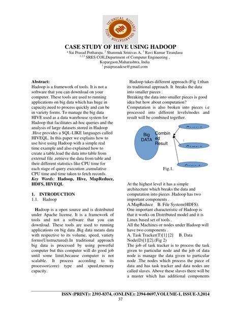 research paper on hadoop study of hive using hadoop pdf available