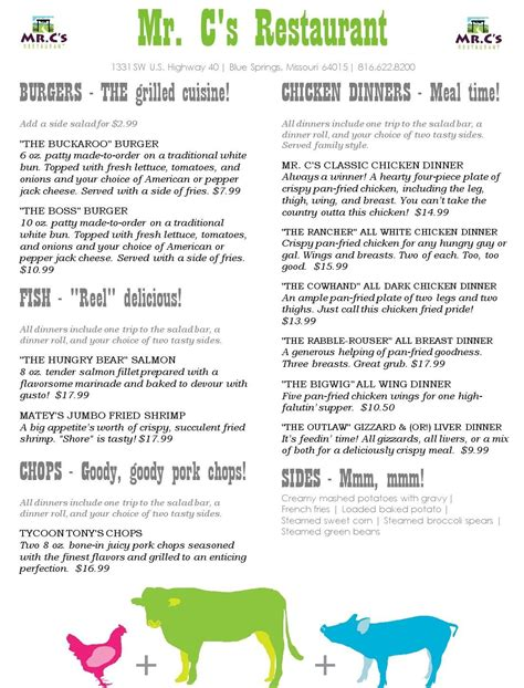 cs blue springs mo menu page  burgers