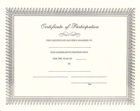 blank certificates templates certificate of participation format technical