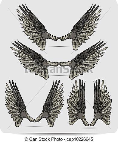 vecteur eps de dessin ensemble corbeau ailes main