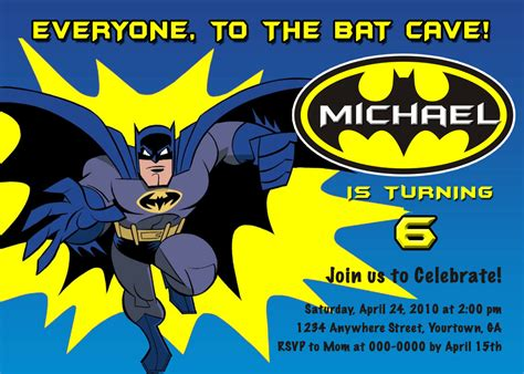 batman invitation template batman personalized birthday invitations you by