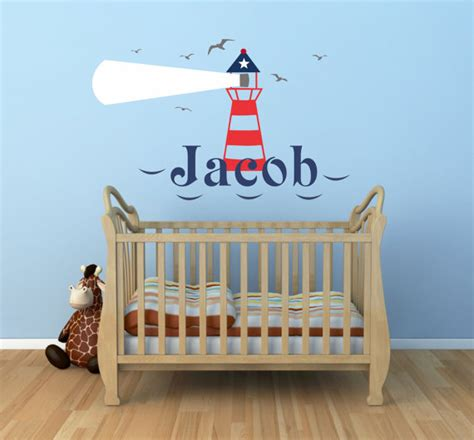 Lighthouse Wall Decal Personalized Lighthouse Decal Nautical Sailboat Decor For Nursery