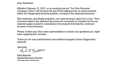 business letter sle price increase notice of price increase awipawip tyco products tyco
