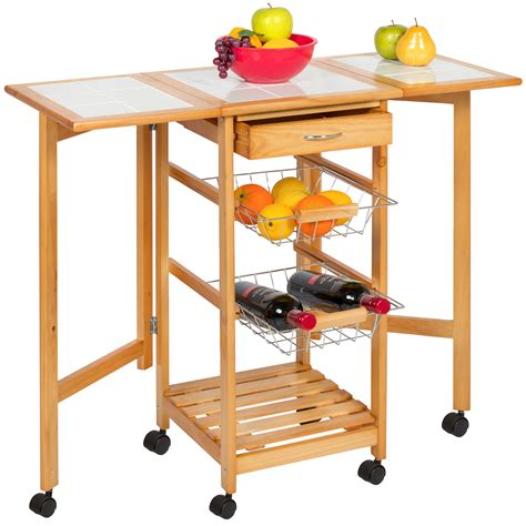 kitchen island trolley zhis me portable folding tile top drop leaf kitchen island cart