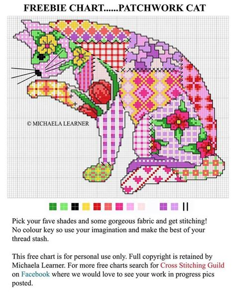 Patchwork And Stitching - patchwork cat cross stitch chart cross stitch
