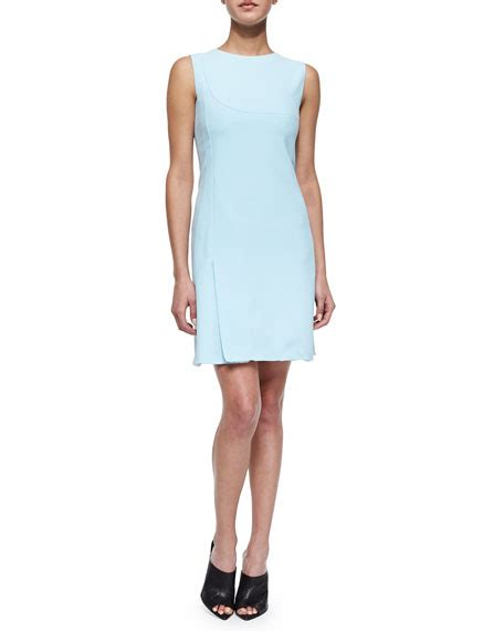 Light Blue Shift Dress by Narciso Rodriguez Scuba Crepe Shift Dress Light Blue