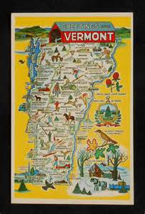 Vermont State Map by 1960s Vermont State Map Landmarks Icons Bird Tree Painting