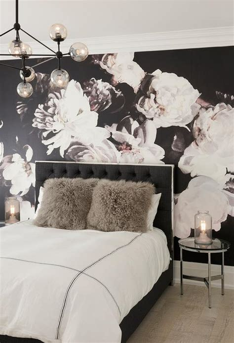 wallpaper for womens bedroom black linen tufted bed with gray shag pillows