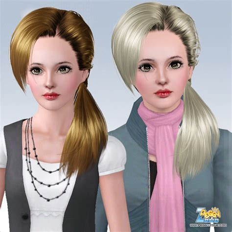 side ponytail sims 3 the sims 3 wrapped side ponytail id 655 by peggy zone