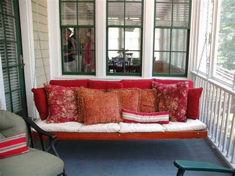 red porch swing cottage daybeds hammocks and sitting spots hgtv