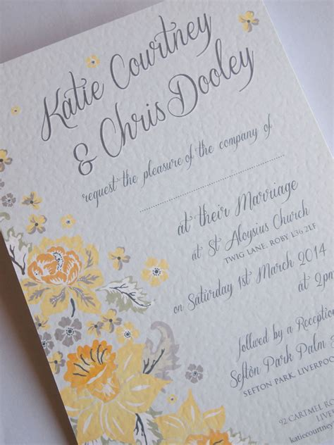 Wedding Invitations Yellow Paper by Vintage Wedding Invitations Yellow Grey Wedding