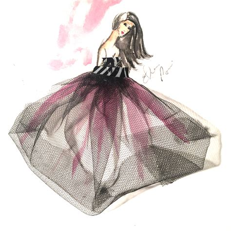 fashion illustration gouache watercolor and tulle dress fashion illustration elaine biss elaine biss