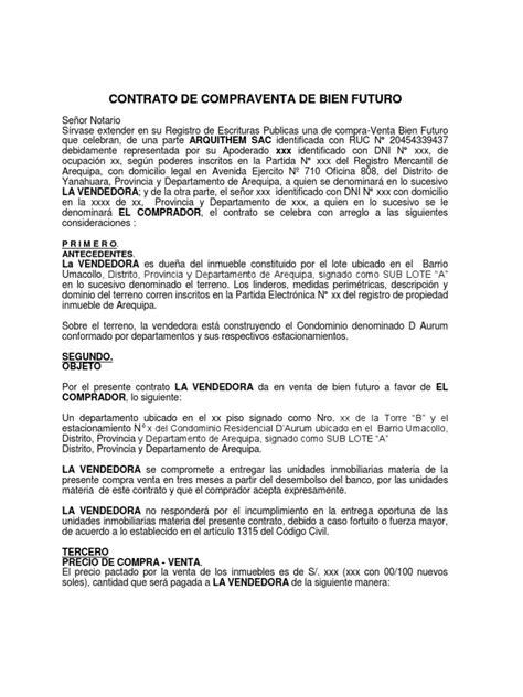 modelo contrato compraventa inmueble vlex chile 100927 modelo contrato de compraventa de bien futuro aurum