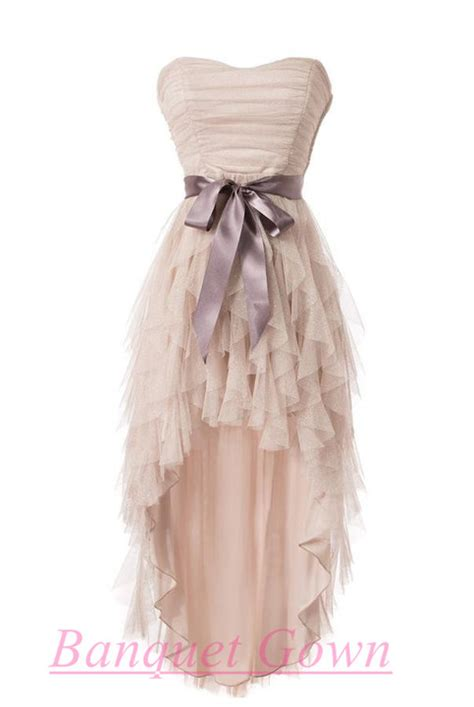 Front Simple Dress cheap simple high low tulle homecoming cocktail dresses gown prom dress for