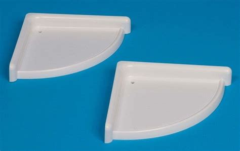 new white plastic set of 2 bathroom corner shelf rack