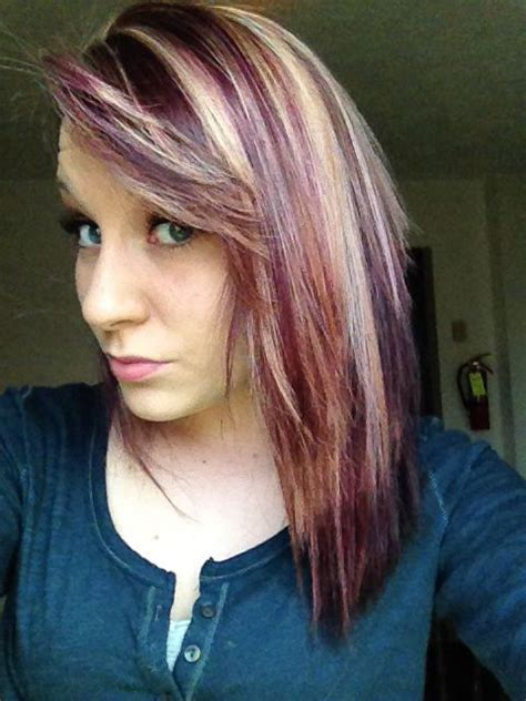 hairstyles with blonde and purple highlights got my hair done a dark purple with blonde highlights love