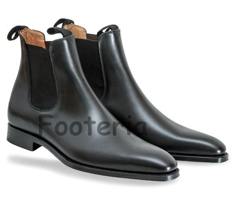 handmade black chelsea boots leather boot for