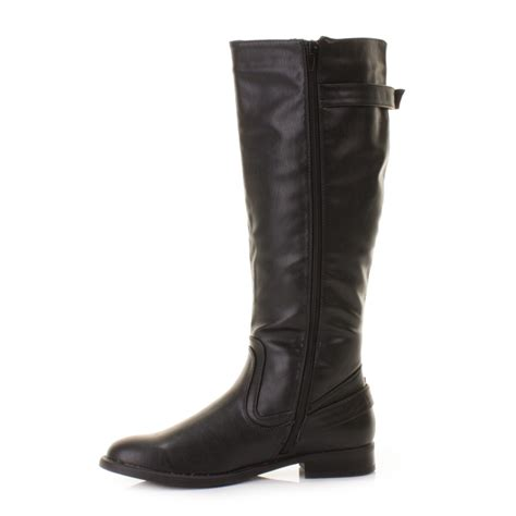 womens black stretch leather look wide calf fit