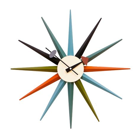 George Nelson Uhr by George Nelson Wall Clock Starburst Clock Multicolor
