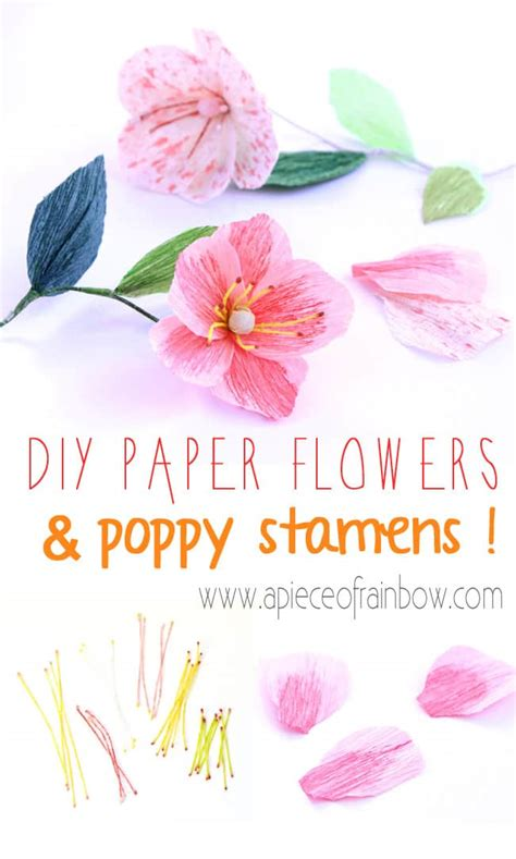 paper poppy flower tutorial diy paper flower poppies and stamens a piece of rainbow