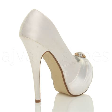 womens high heel platform wedding peep toe shoes