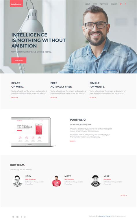Github Bootstrapthemesco Freelancer Guide Portfolio Simple One Page Bootstrap Template Bootstrap Freelancer Template