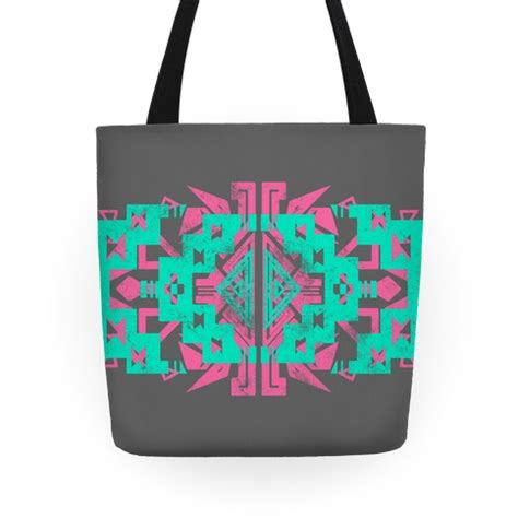 tribal pattern tote bag pink and mint aztec pattern tote bag human