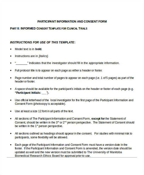 report form template clinical trials 34 consent forms in doc
