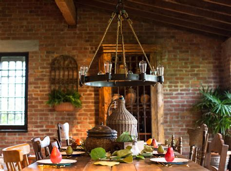 rustic chandelier adds industrial styling with vintage