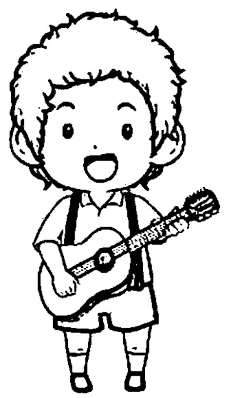 coloring page playing guitar inline image boy play guitar playing the guitar coloring