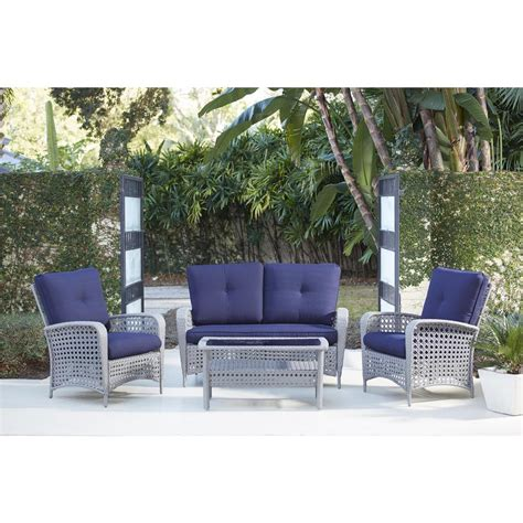 cosco lakewood ranch 4 gray resin wicker patio