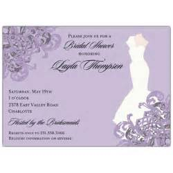 gown lilac bridal shower invitations paperstyle