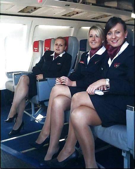 flight attendant air hostess stewardess beautiful legs legs nylons black