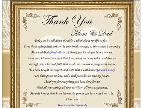 thank you poems for wedding gifts thank you gifts for parents on wedding day from groom