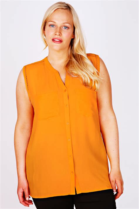 orange sleeveless blouse lace henley blouse