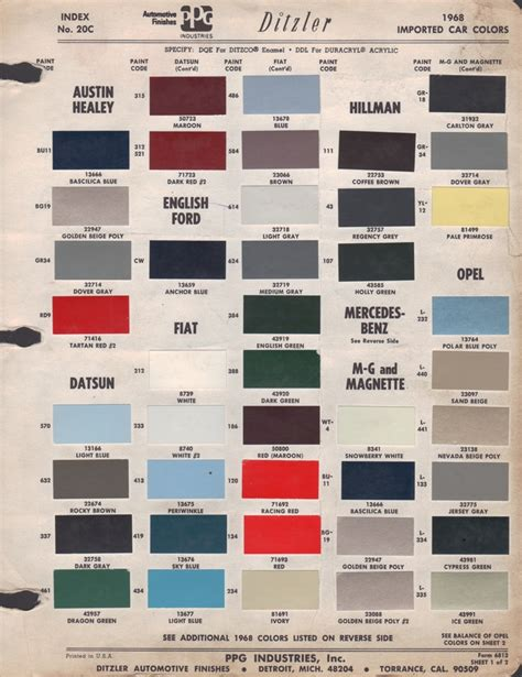 paint chips 1968 healey