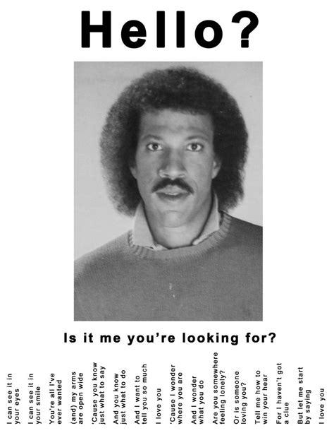 Lionel Richie Meme - lionel richie tear off ad hello is it me you re looking