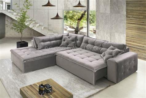 sofas em l sof 225 vaintev canto em l veludo marrom 3 lugares sala de estar