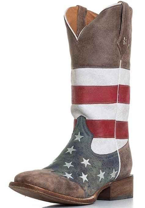roper s american flag square toe cowboy boots brown