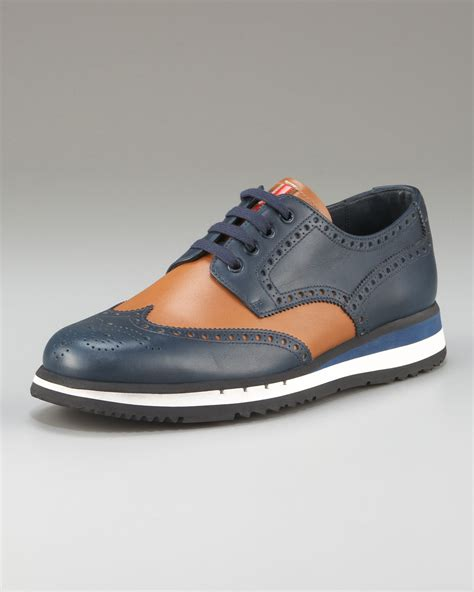 oxford shoes colored soles prada bicolor oxford with colored micro sole in blue for