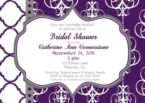 Bridal Shower Invitations Purple Bridal Shower Purple Invitation Template