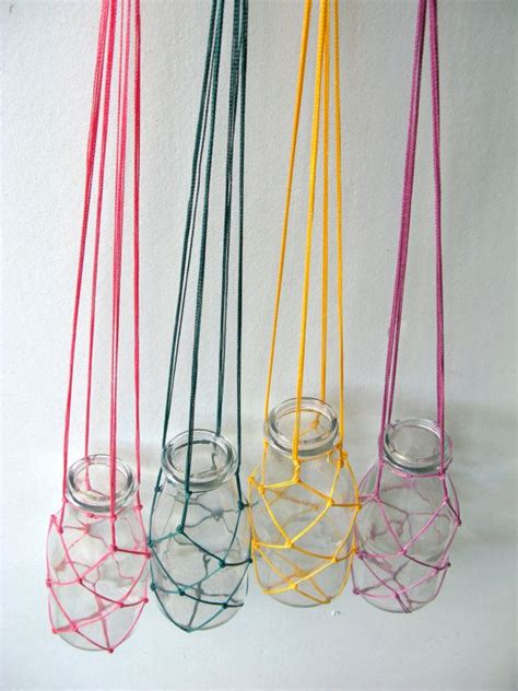 Macrame Net - four small fishing net and macrame plant hanger with glass