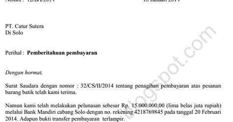 surat pemberitahuan pembayaran