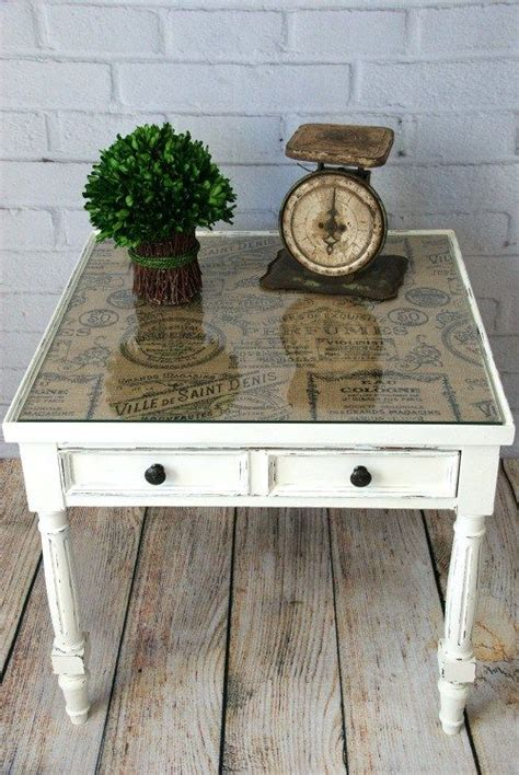 end table makeover ideas burlap topped side table chalk paint tabletop and burlap