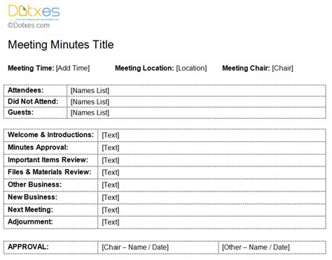 Standard Minutes Of Meeting Template standard meeting minutes template dotxes